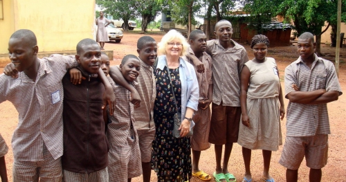 Candy visits the special needs school in Takoradi. Supported by St. Mary's Church, this is one of very few schools in Ghana for special needs students.