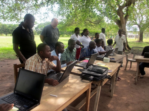 Locals in Ghana using newly donated computers, collected and refurbished by E-Quip Africa.ica.