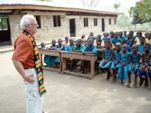 Doug talks to students, Ghana